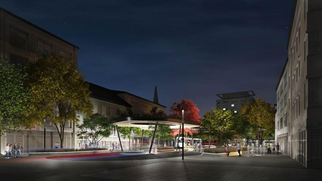 Modellbild Kaiser-Josef-Platz neu bei Nacht