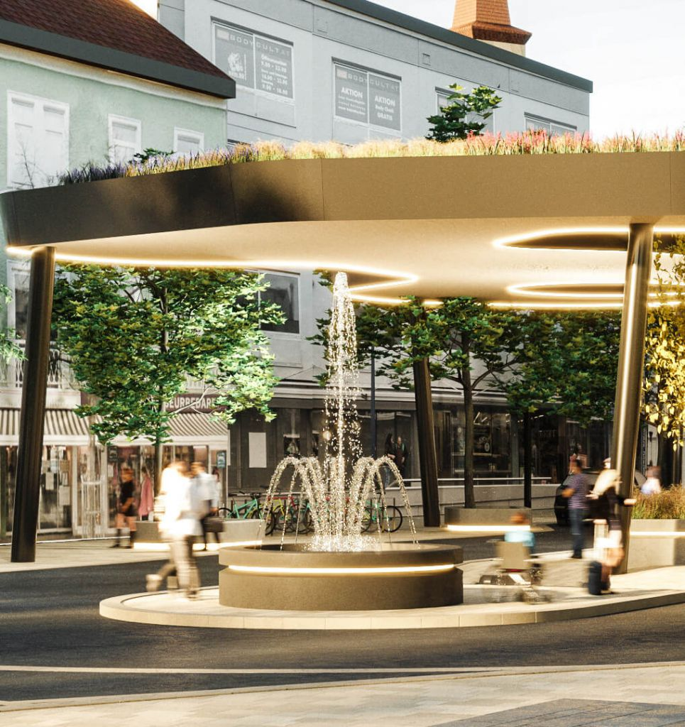 Visualisierung des Kaiser-Josef-Platz Brunnen Detailbild