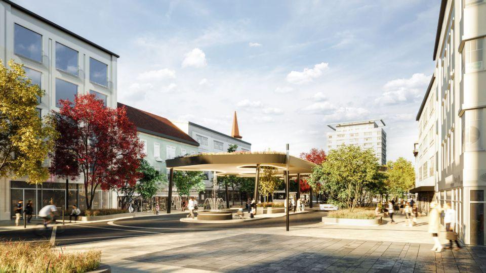 Visualisierung des Kaiser-Josef-Platz nach Umbau Brunnen und begrüntem Dach der Busdrehscheibe