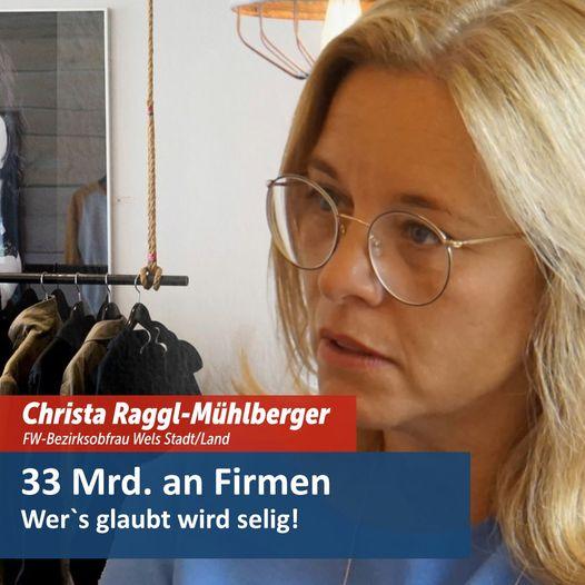 Christa Raggl-Mühlberger, Obfrau der Freiheitlichen Wirtschaft Wels Stadt und Land