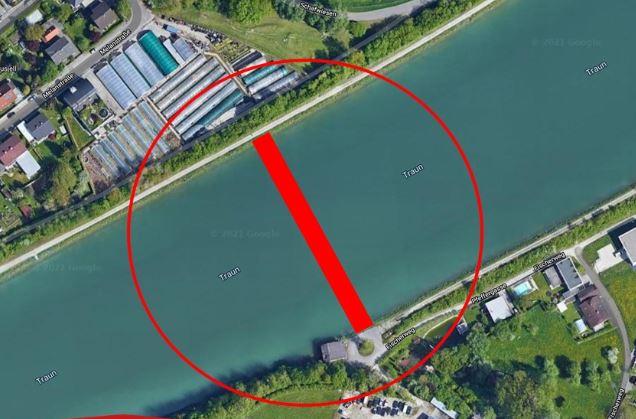Geh und Radwegbrücke Wels.Schleissheim in Google Maps eingezeichnet